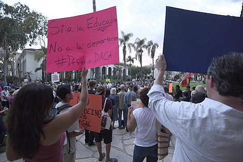 About 200 people gathered in downtown Santa Barbara on Friday evening to support the DACA program.