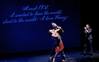 """Dancers representing Anaïs Nin and Henry Miller perform as """"Eternal Anaïs"""" sings on the right."""
