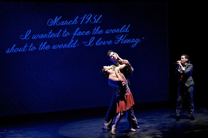 "Dancers representing Anaïs Nin and Henry Miller perform as ""Eternal Anaïs"" sings on the right."