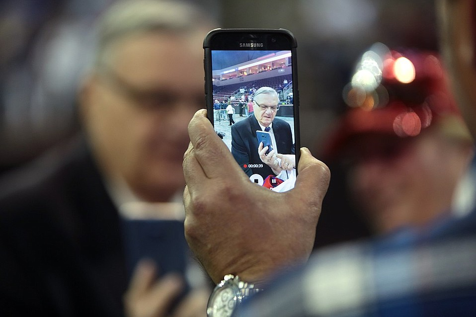 Sheriff Joe Arpaio speaking with supporters at a campaign rally for Donald Trump at the Prescott Valley Event Center in Prescott Valley, Arizona.