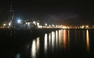A lightning storm passing through Santa Barbara Sunday night.