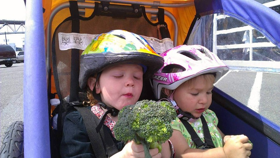 "Jen Goldman first used a baby trailer to hold both kids and groceries, but upgraded to a cargo bike when she found, ""If your kids are hungry, you might get home and no longer have the broccoli you planned to cook for dinner."""