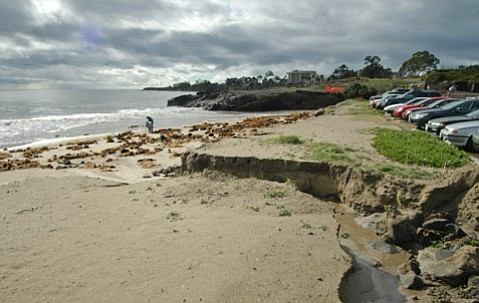 A receding beachline at Goleta Beach Park after a storm