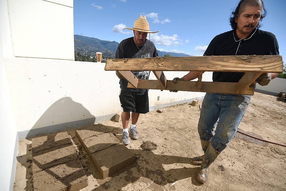 Rafa Esparza makes adobe bricks at SBCC's Atkinson Gallery