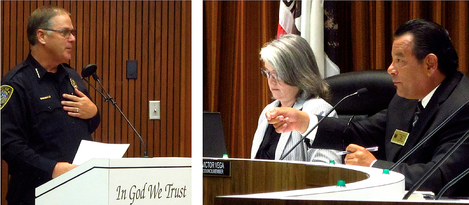 Lompoc Police Chief Pat Walsh, who has been critical of cannabis, answered questions from city councilmembers, including Jenelle Osborne (left) and Victor Vega (right), who led the effort to draft the city regulations.