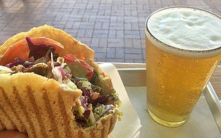 A doner kebap with everything is served fast and works well with a Krombacher Pils.