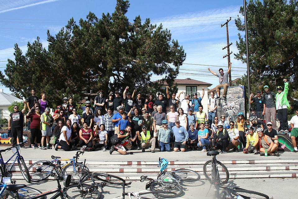 Mural Ride riders gathered at Ortega Park in 2016.
