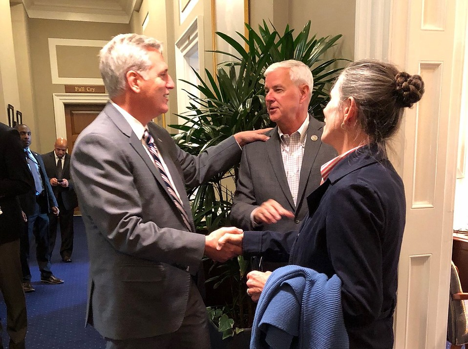 As Nancy Crawford-Hall hires attorney Barry Cappello to sue the county and stop a deal with the Chumash over Camp 4, former county supervisor candidate Karen Jones (right) flew to Washington, D.C., to urge representatives Kevin McCarthy (left) and Steve Womack to oppose House Bill 1491.