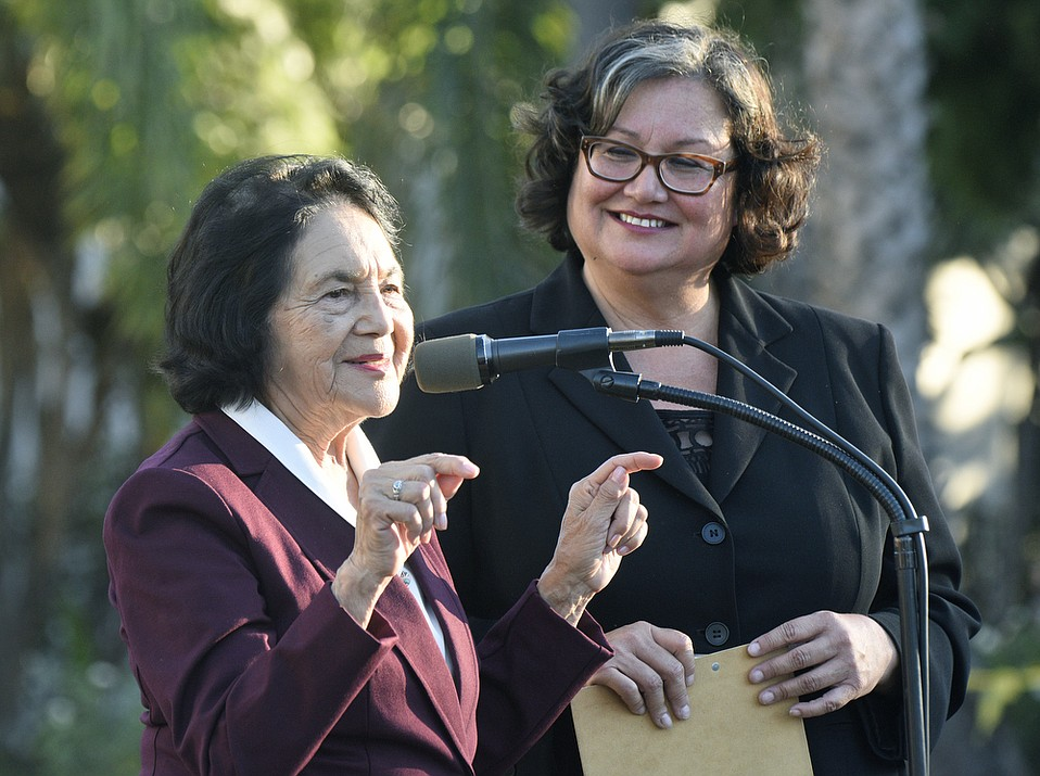 Iconic labor leader and civil rights activist Dolores Huerta stumps for mayoral candidate Cathy Murillo at October 27 rally in De la Guerra Plaza.