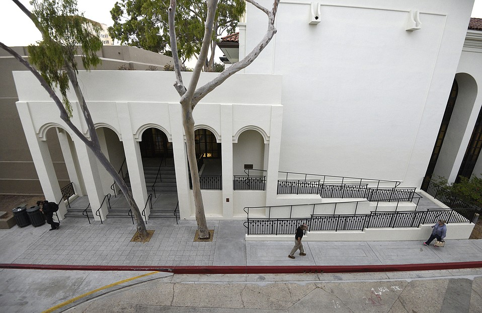 Santa Barbara Central Library's reconstructed entrance on the southeast side of the building added a ramp for wheelchair access.