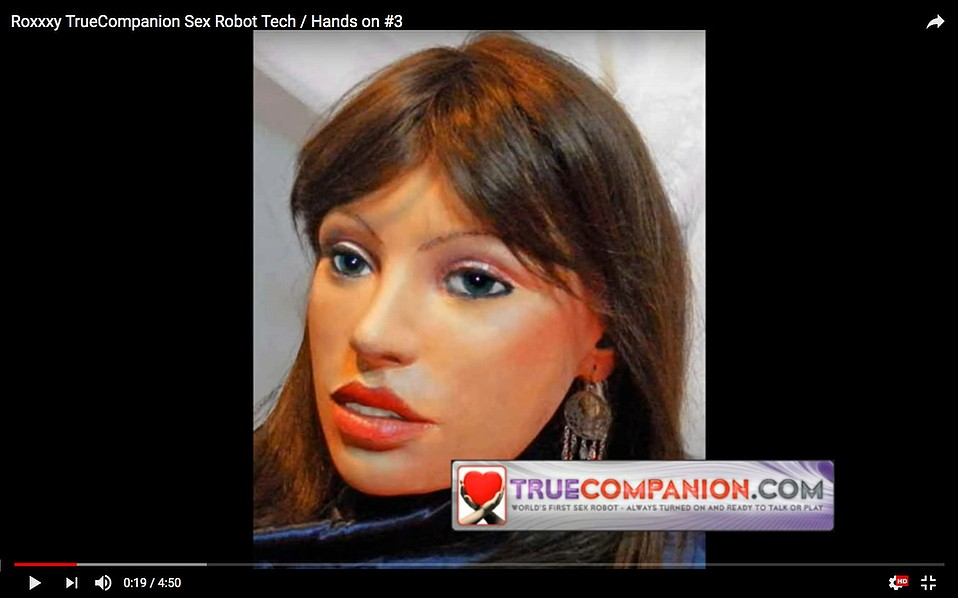 A still from a TrueComanion video demonstration of their sex robot Roxxxy