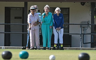 Pearl Slauterbeck (left), Jo Millett, and Carol Smith have been active for decades at the Santa Barbara Lawn Bowls Club.