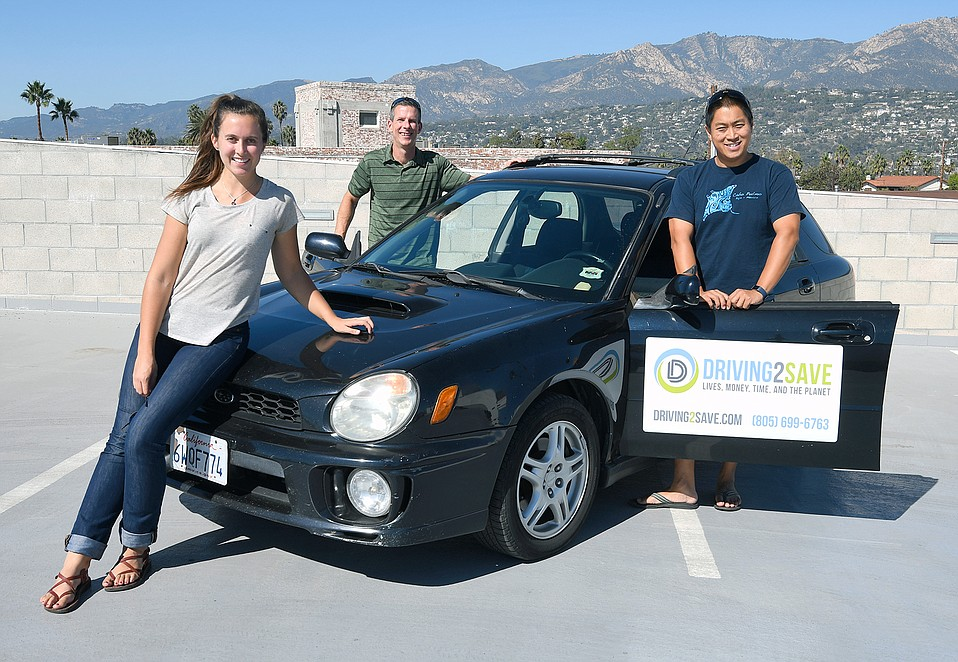 Driving2Save's Erin Erickson (executive editor), Brian Goebel (founder & CEO), and Desmond Ho (chief scientist)