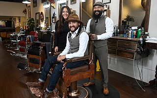 Lucianna, Jorge, and Ito Salgado at The Barber Shop