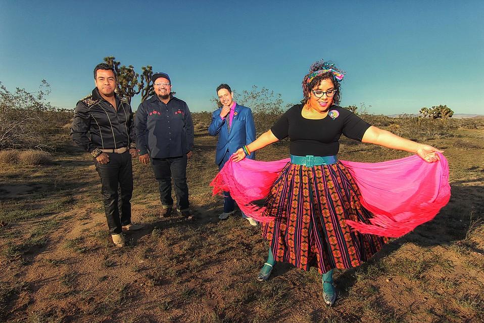 """La Santa Cecilia's Miguel """"Oso"""" Ramírez, José """"Pepe"""" Carlos, Marisol """"La Marisoul"""" Hernández, and Alex Bendaña"""