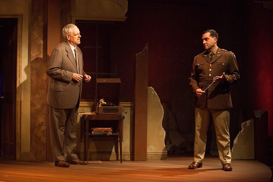 Peter Van Norden as German composer Wilhelm Furtwängler and Patrick Vest as interrogator Major Arnold in Taking Sides