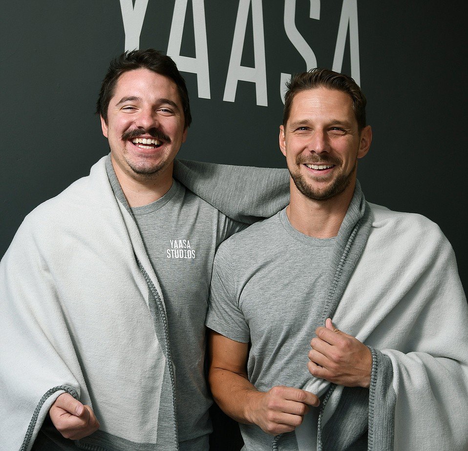 Yaasa Studios Director of Products Joey Krueger (left) and CEO Johannes Sauer with the Infinity Blanket
