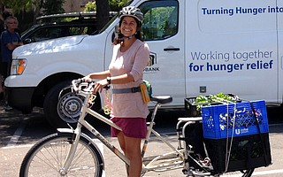 Diana De La Riva delivering produce for Foodbank of S.B. County