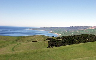An up-coast view of Bixby Ranch.