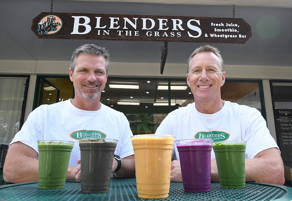 Scott Webber (left) and Art Tracewell, two of Blenders' three founders (third founder Keric Brown was surfing in El Salvador), introduce their new, nondairy, plant-based smoothies.
