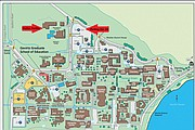 A map detailing the location of the UCSB evacuation shelter