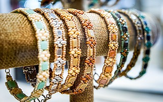 Intricate beaded jewelry by Claire Weber
