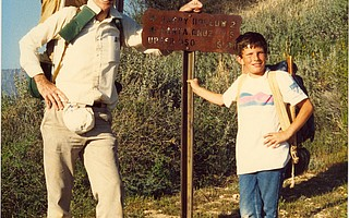 "Jim Mills helped preserve Santa Barbara's backcountry wilderness for many, including his grandson Lance Hoffman, who recalled that ""Grandad propped the camera up on a walking stick and set the timer"" to take this photo at Cachuma Saddle, Little Pine Mountain, around 1990."