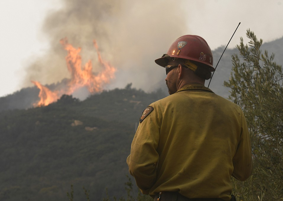 Captain Jesse Hendricks with the Vandenberg Hot Shots working the Thomas Fire in Toro Canyon Tuesday, December 12, 2017.