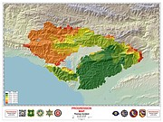 A fire progression map indicates the growth of the Thomas Fire each day since starting last Monday, December 4.
