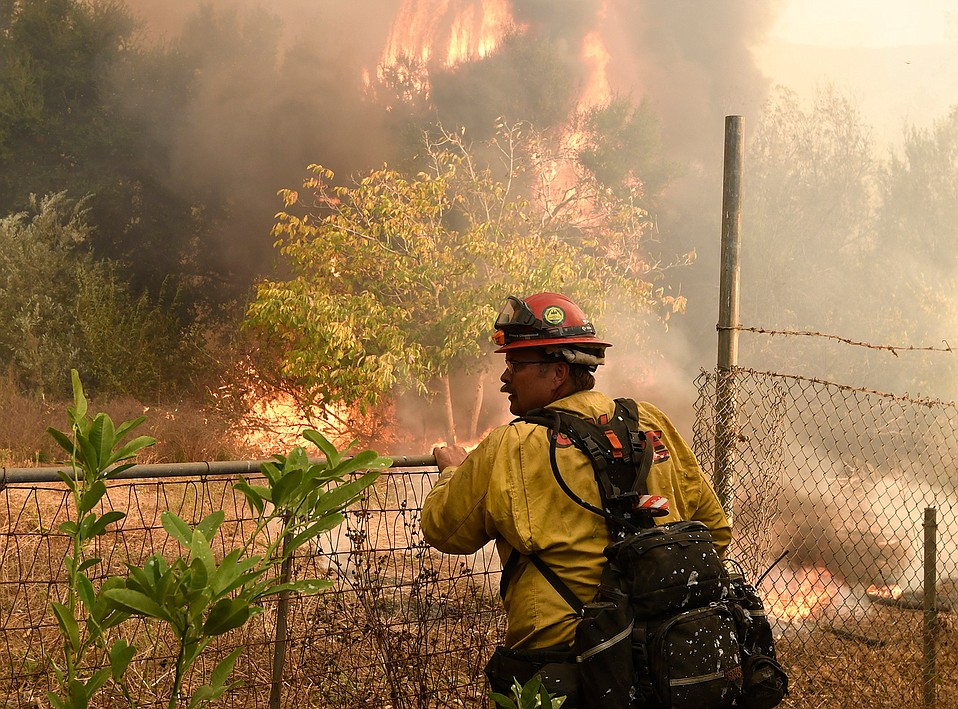 A Cal Fire firefighter keeps an eye on the edge of the Thomas Fire as it approaches evacuated structures behind him.