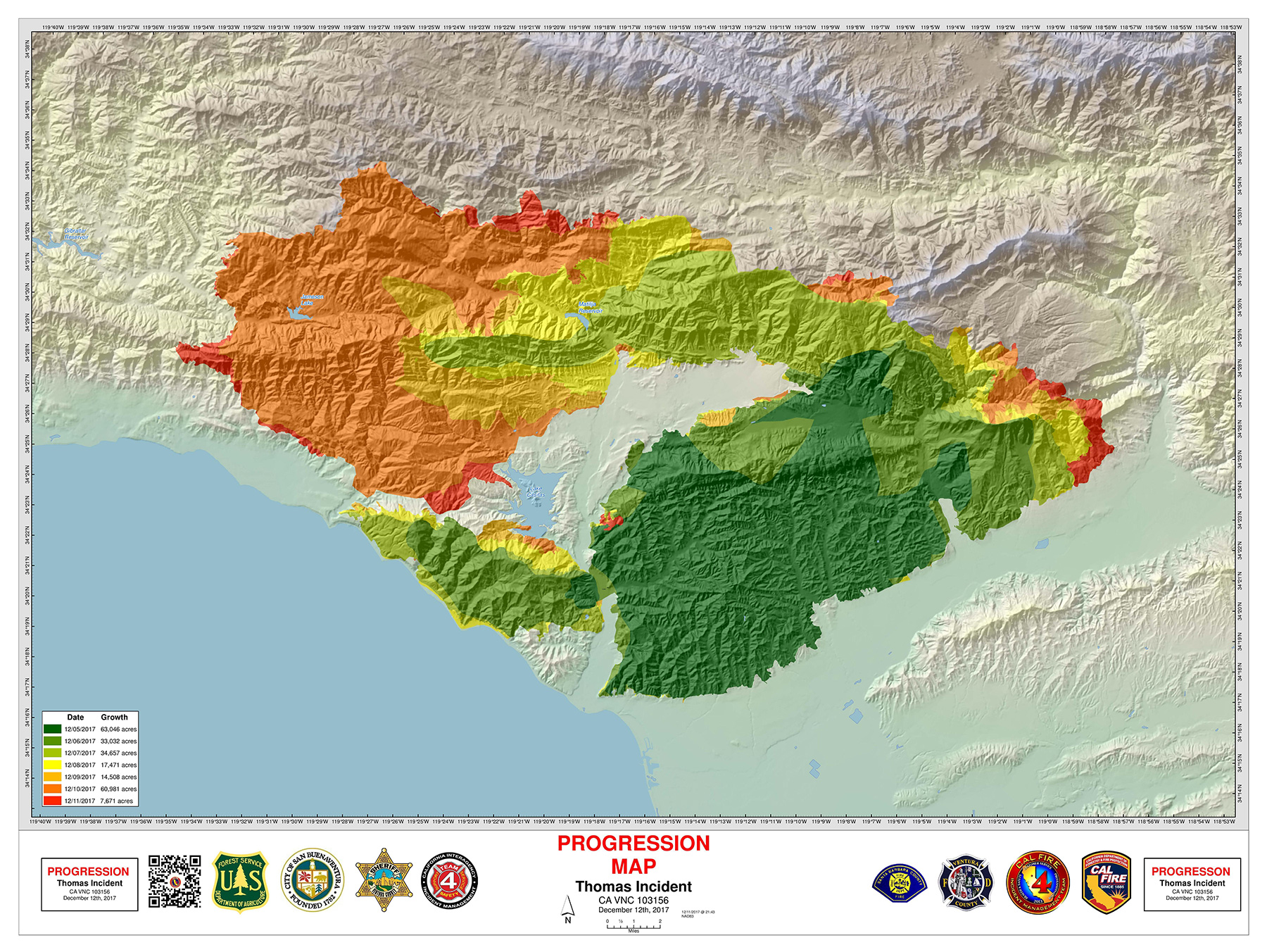 this cal fire map shows how far and wide the thomas fire has marched eachday. why a good thomas fire map was hard to find