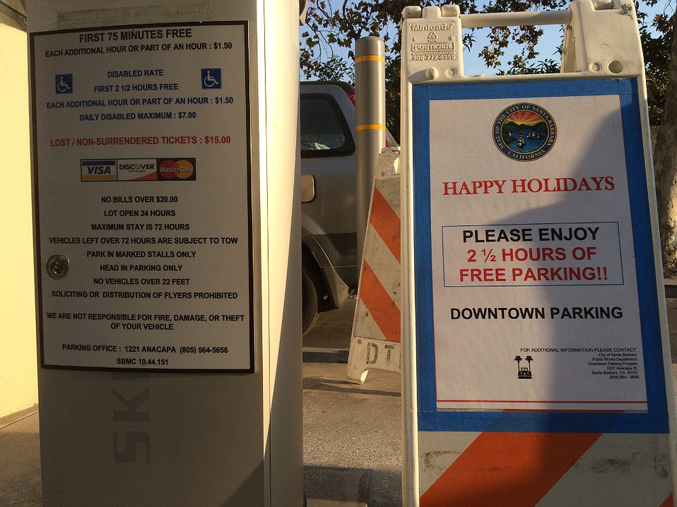 Santa Barbara is trying to get shoppers downtown by extending free parking-lot time from 75 minutes to two and half hours.