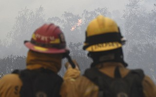 Firefighters staged at the San Ysidro Ranch Saturday morning. (Dec. 16, 2017)