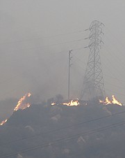 Thomas Fire burning near power lines above East Mountain Drive. (Dec. 16, 2017)