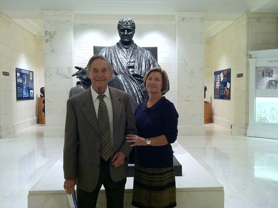 Longtime activist Bud Boothe worked to achieve peaceful ends for nuclear power, civil rights, the environment, and even the military. Here, he's pictured with his daughter, Karen Wall; they were invited to the 