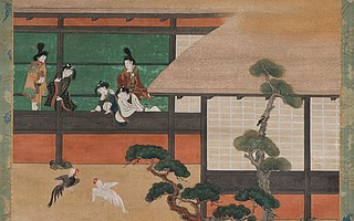 """Dawn in the Geisha Quarters,"" an Edo-period, mid-17th-century painting by an unknown Japanese artist, is on view now at the Santa Barbara Museum of Art."