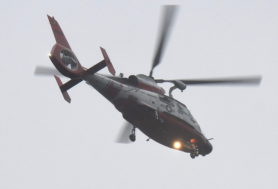One of the four U.S. Coast Guard airships being used in airlift rescues of those trapped in the Montecito mudslides (Jan. 9, 2018)