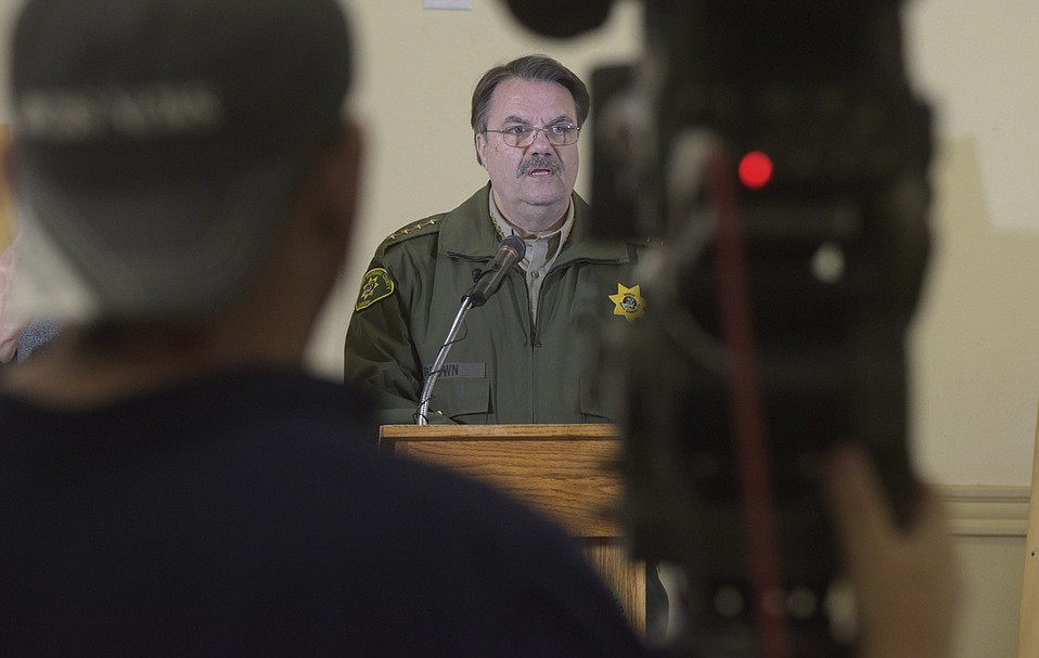 At a  press conference at Earl Warren Showgrounds, Santa Barbara County Sheriff Bill Brown speaks about the mudslide that devastated Montecito early that morning (Jan. 9, 2018).