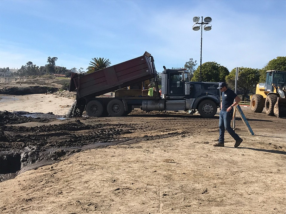 About 150 truckloads of Montecito muck has been dropped into the surf at Goleta Beach.
