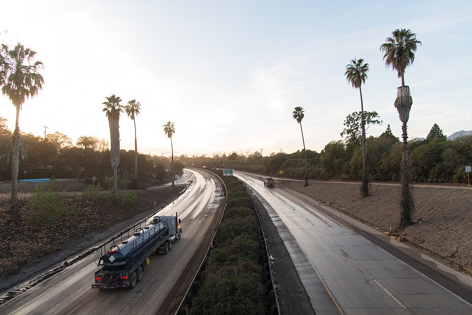 Highway 101 at San Ysidro Road has been cleared, but lanes in both directions are being utilized by CalTrans as they continue sifting through mud and debris covering a quarter-mile stretch of the 101 near Coast Village Road.
