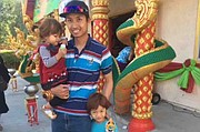 Oom Sutthithepa and his kids, Lydia and Peerawat, who goes by Pasta.