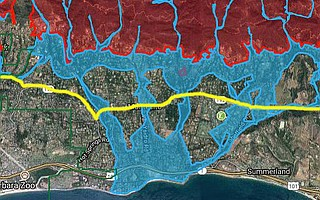 County officials predicted massive flooding below Highway 192, highlighted here in yellow. This map was presented last Friday, January 5, during a press conference to warn Montecito residents of the upcoming storm.