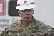 Lieutenant General Todd T. Semonite, Commanding General and Chief Army Corps of Engineers, stops in Santa Barbara to discuss cleanup work being done from the recent mudslides.