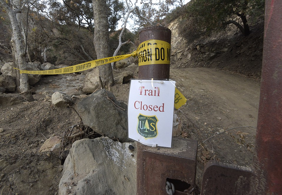 Romero Canyon trail closed due to mudslide debris.