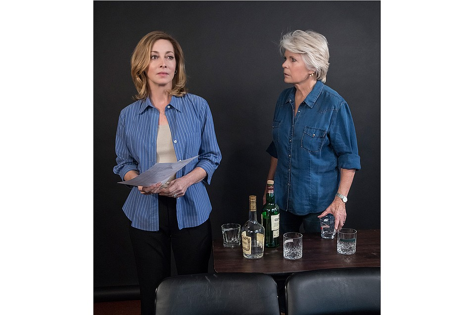 Sharon Lawrence and Meredith Baxter rehearse a scene