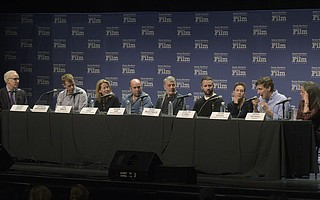 2018 SBIFF Producers panel (seated L to R) Moderator Glenn Whipp, Graham Broadbent (Three Billboards Outside Ebbing, Missouri), Lisa Bruce (Darkest Hour), J. Miles Dale (The Shape of Water), Daniel Lupi (Phantom Thread), Sean McKittrick (Get Out),  Evelyn OÕNeill (Lady Bird), Peter Spears (Call Me By Your Name), and Emma Thomas (Dunkirk)