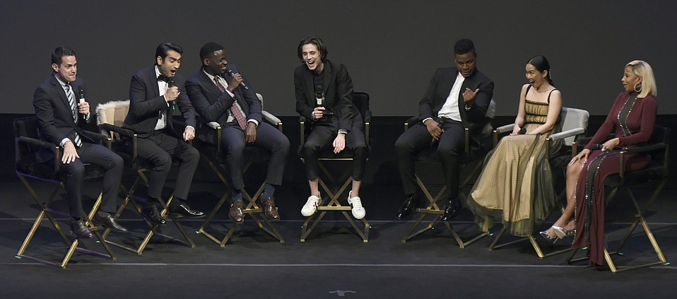 Santa Barbara International Film Festival 2018 Virtuosos Award honorees seated L to R Dave Karger (moderator), Kumail Nanjiani (The Big Sick), Daniel Kaluuya (Get Out), TimothŽe Chalamet (Call Me by Your Name), John Boyega (Detroit), Hong Chau (Downsizing), and Mary J. Blige (Mudbound). Gal Gadot (Wonder Woman) also awarded but could not attend. (Feb. 3, 2018)