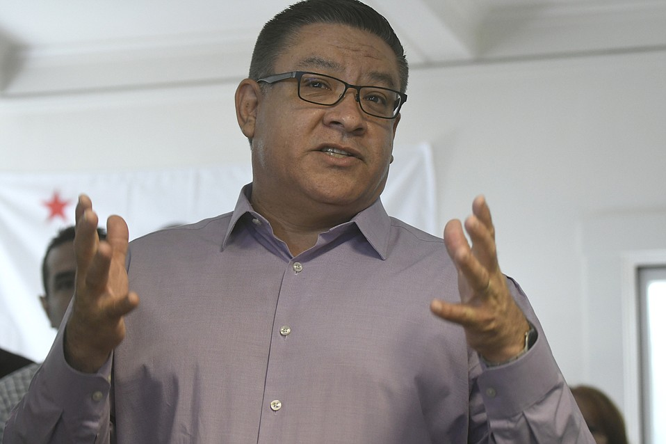 Congressmember Salud Carbajal and California State Assemblymember Monique Limon announce their bid for reelection at the Democratic headquarters in Santa Barbara, CA. (Feb. 3, 2018)