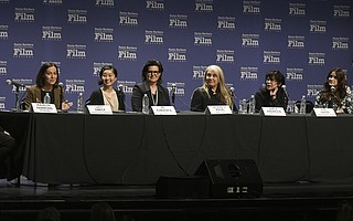 SBIFF 2018 Women's Panel participants, from left: moderator Madelyn Hammond; Lucy Sibbick, Oscar-nominated hair and makeup artist for 'Darkest Hour'; Ru Kuwahata, director of Oscar-nominated animated short 'Negative Space'; Tatiana S. Riegel, Oscar-nominated film editor of 'I, Tonya'; Darla K. Anderson, producer of Oscar-nominated animated feature 'Coco'; April Napier, costume designer for Best Picture nominee and Golden Globe winner 'Lady Bird'; and Elaine McMillion Sheldon, director of Oscar-nominated documentary short 'Heroin(e)' (Feb. 4, 2018)