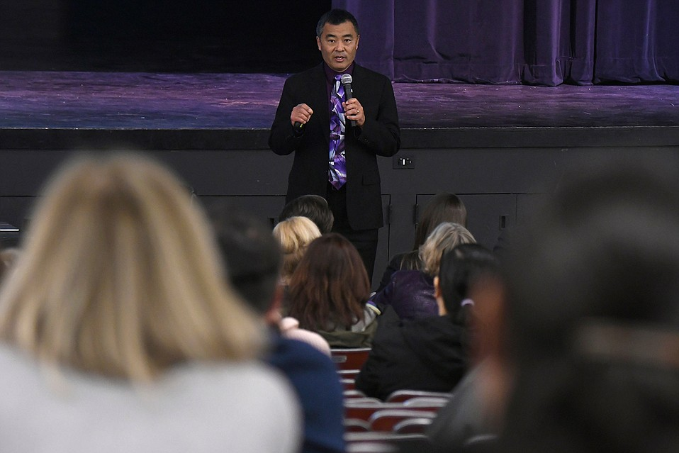 Superintendent Cary Matsuoka holds a public discussion on school policy and actions taken following recent threats made in chat rooms by San Marcos High School students.